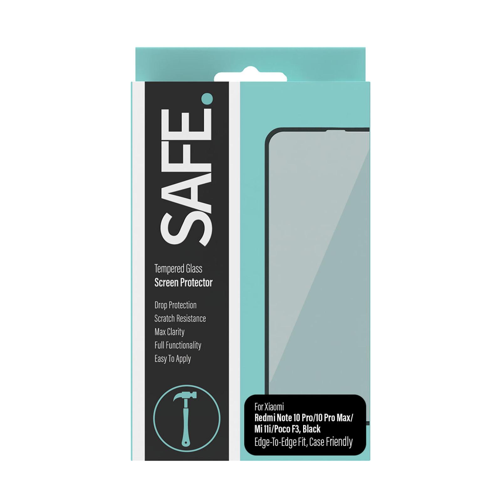 Стъклен протектор SAFE за Redmi Note 10 Pro/Max/Mi 11i/Poco F3 CF,Black
