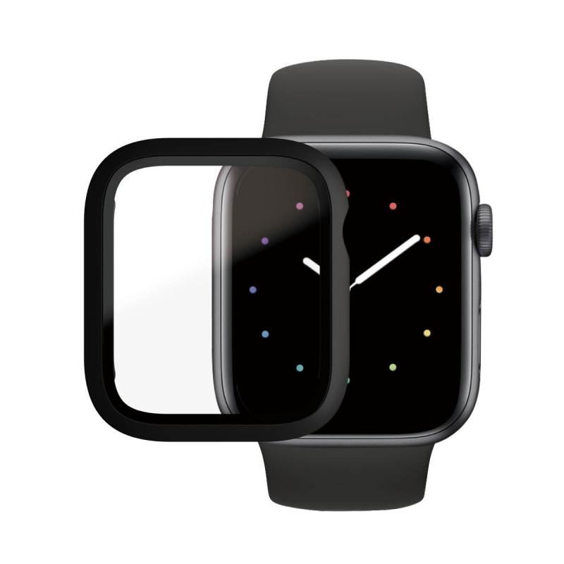 Стъклен протектор със силиконова рамка Apple watch Series 4/5/6/SE 44mm Panzerglass, AntiBacteria - Черна рамка