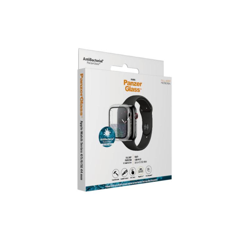 Стъклен протектор със силиконова рамка Apple watch Series 4/5/6/SE 44mm Panzerglass, AntiBacteria - Прозрачна  рамка