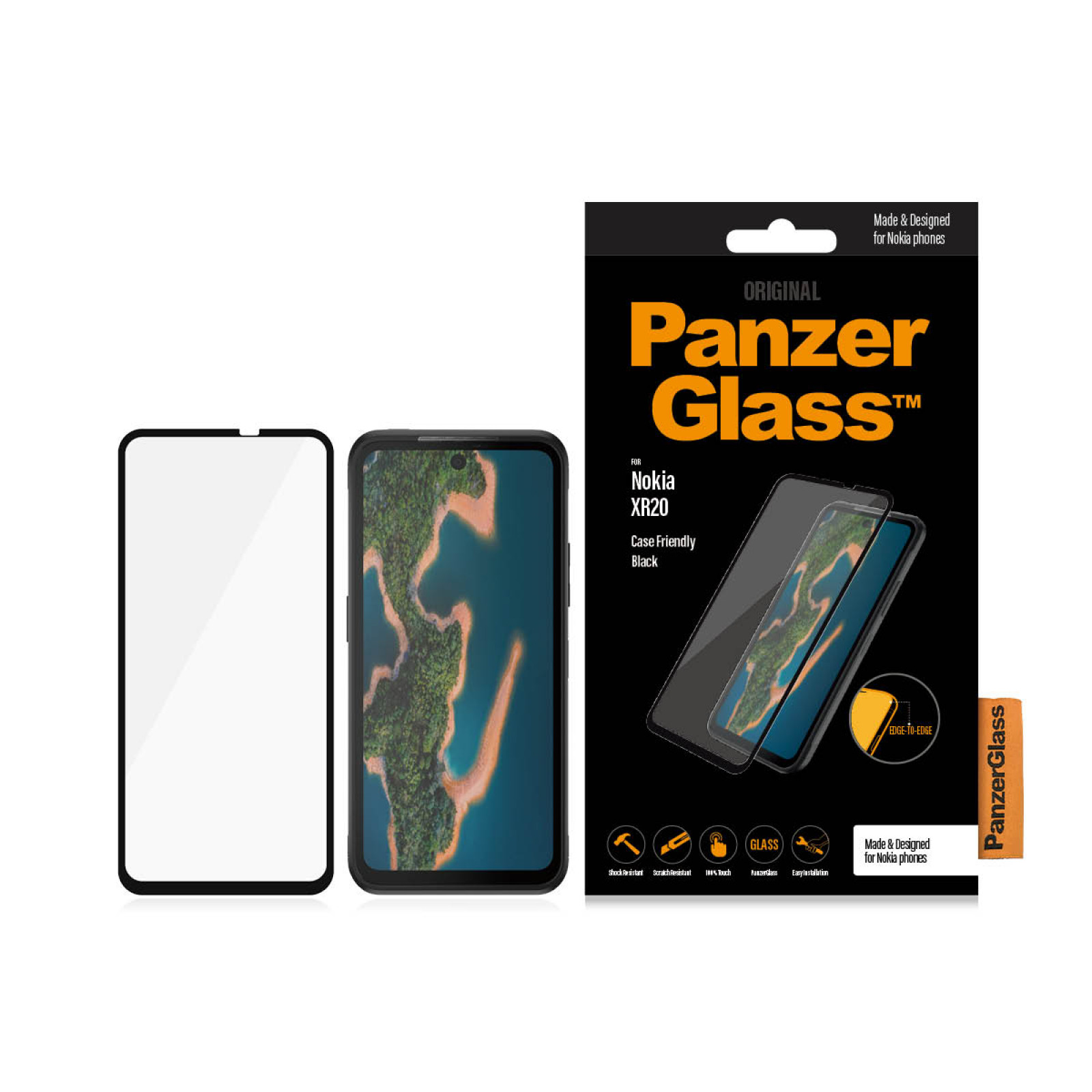 Стъклен протектор PanzerGlass за Nokia XR20 CaseFriendly - Черен