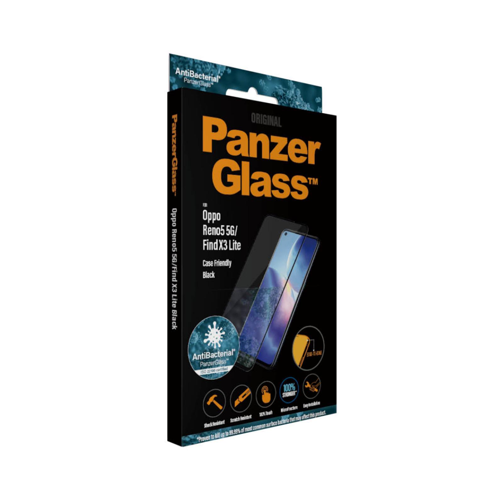 Стъклен протектор PanzerGlass за Oppo Reno 5 5G / Find X3 Lite, CaseFriendly, Antibacterial - Черно