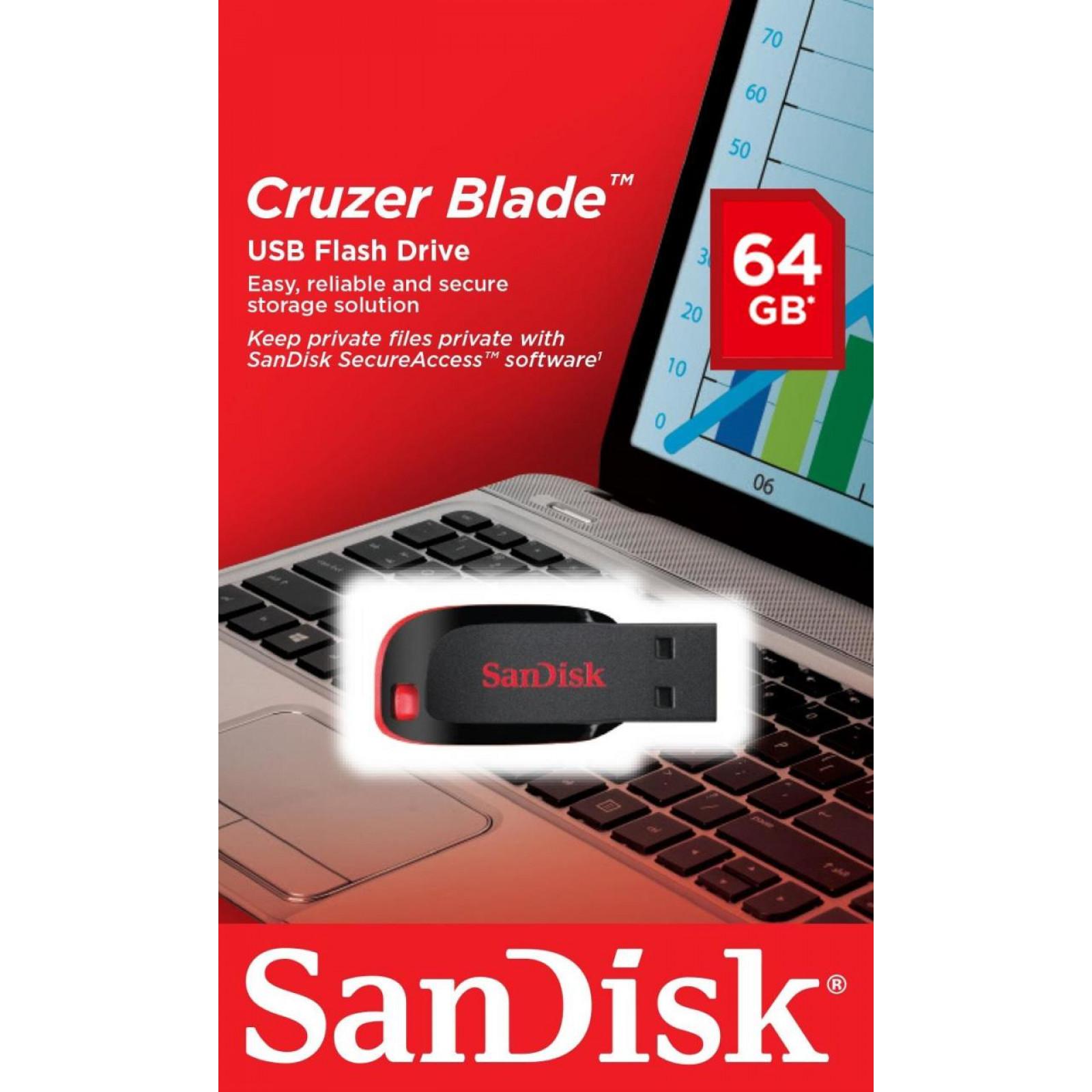 Флашка SanDisk Cruzer Blade 64GB - Черно/Червена
