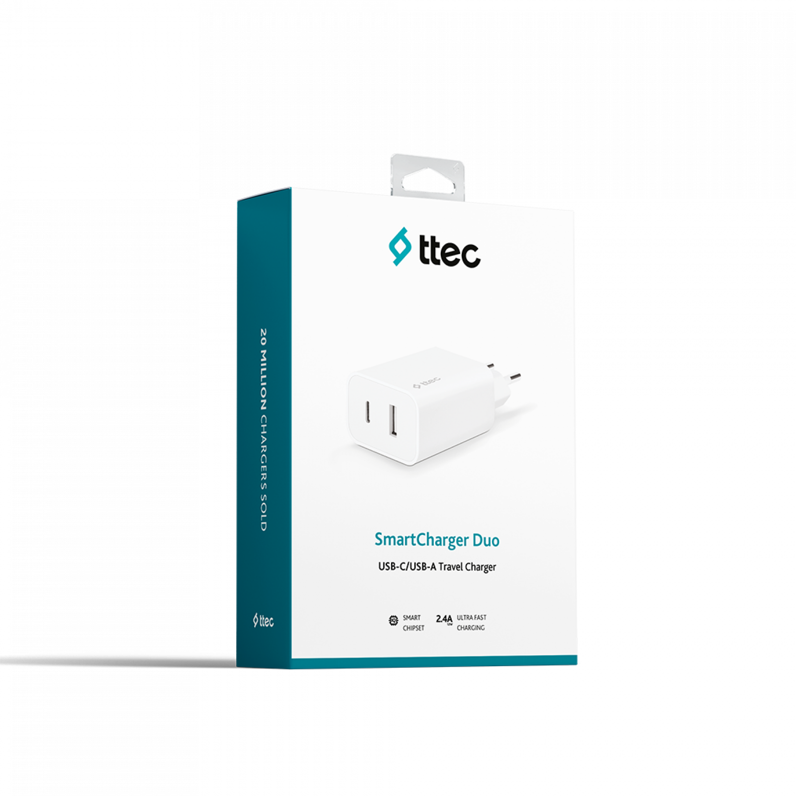 Адаптер 220V ttec SmartCharger Duo USB-C+USB-A Travel Charger 2.4 A - Бял