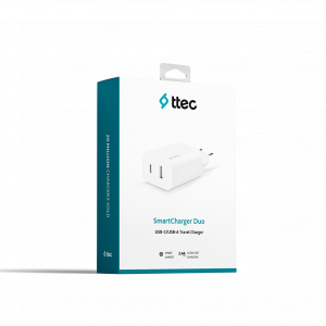 Адаптер 220V ttec SmartCharger Duo USB-C+USB-A Tra...