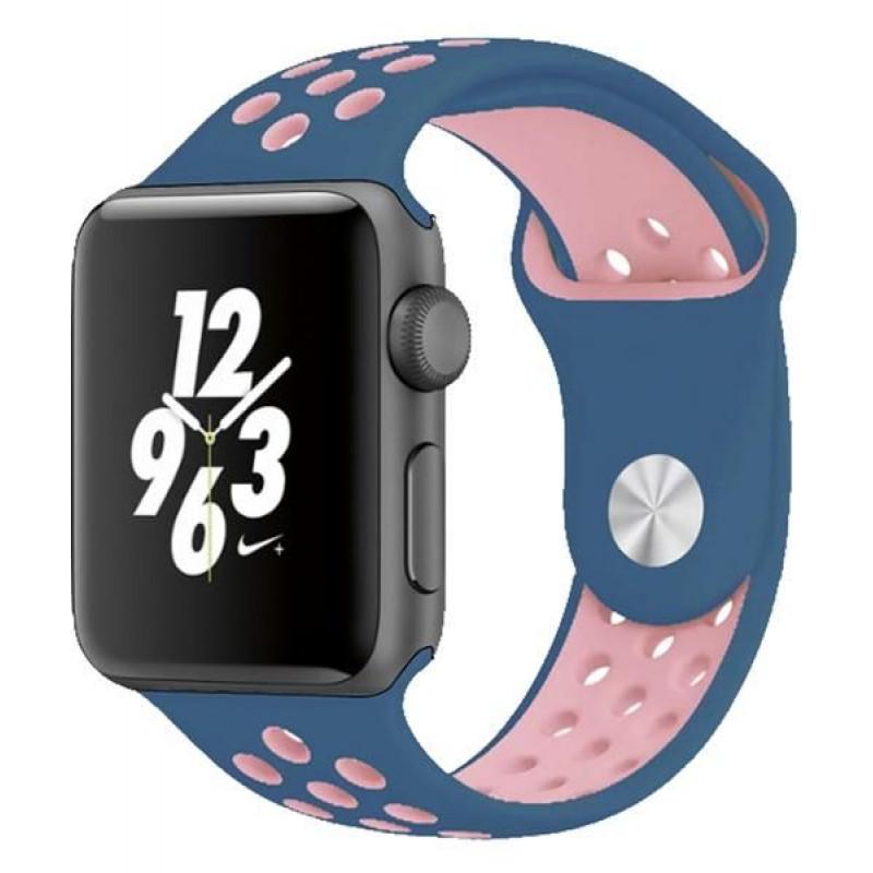 Силиконова каишка за часовник Smart Watch 38/40mm - Синя с розово