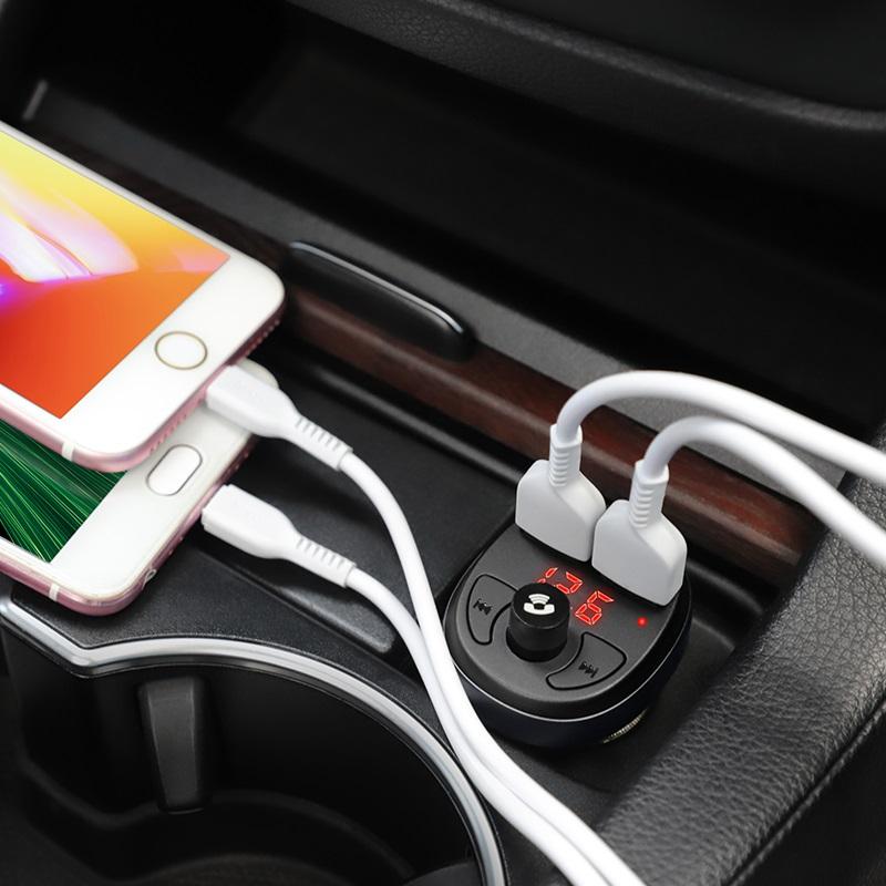 Трансмитер за кола E41 In-car audio wireless FM transmitter - Черен