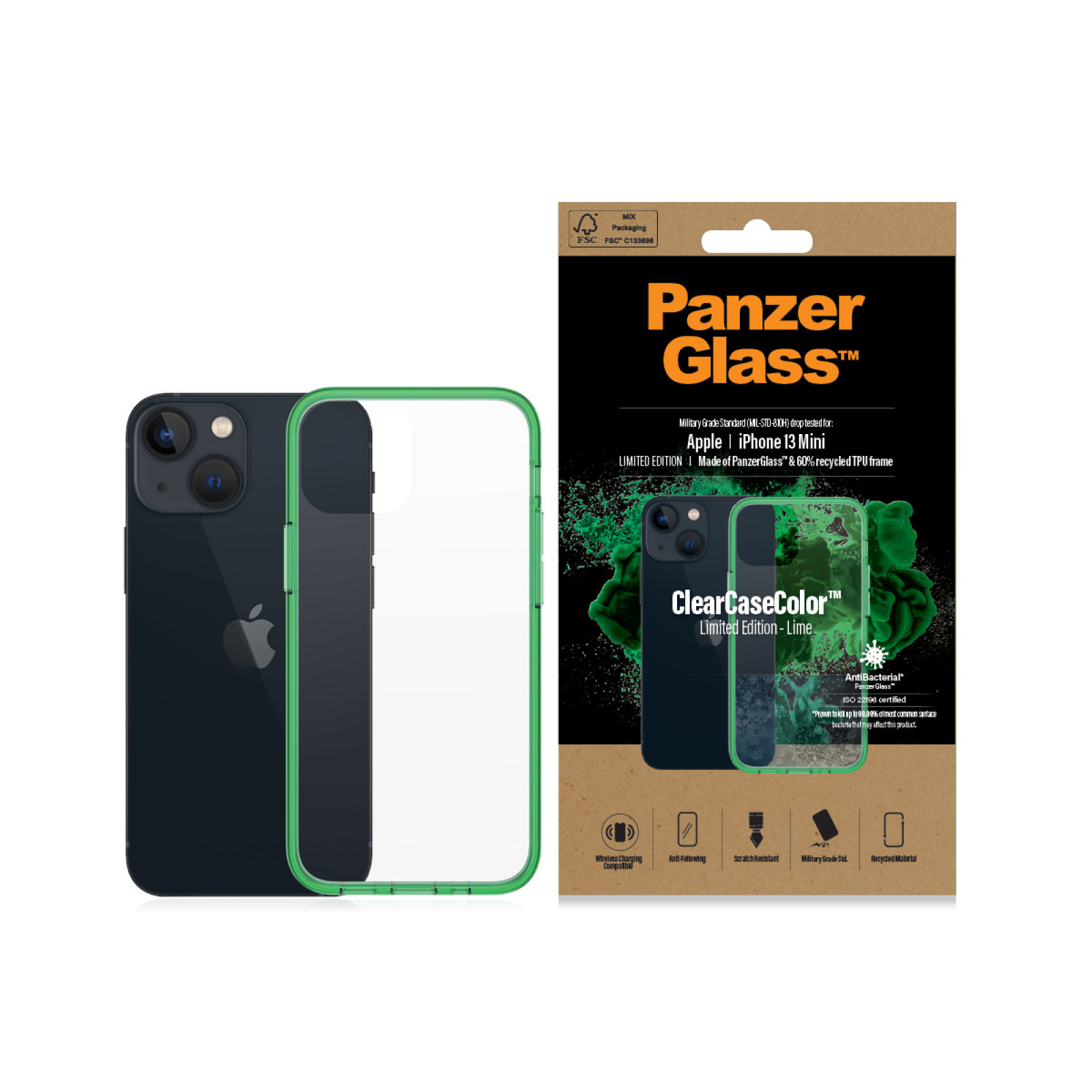 Гръб PanzerGlass за IPhone 13 mini, ClearCase - Зелена рамка