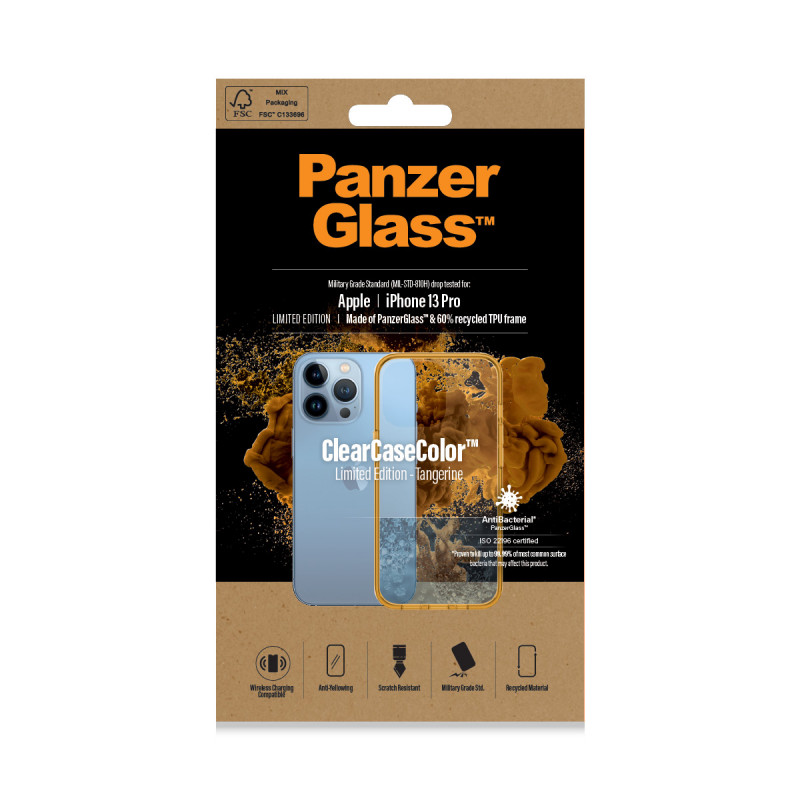 Гръб PanzerGlass за IPhone 13 Pro, ClearCase - Оранжева рамка
