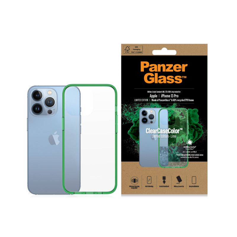 Гръб PanzerGlass за IPhone 13 Pro, ClearCase - Зел...