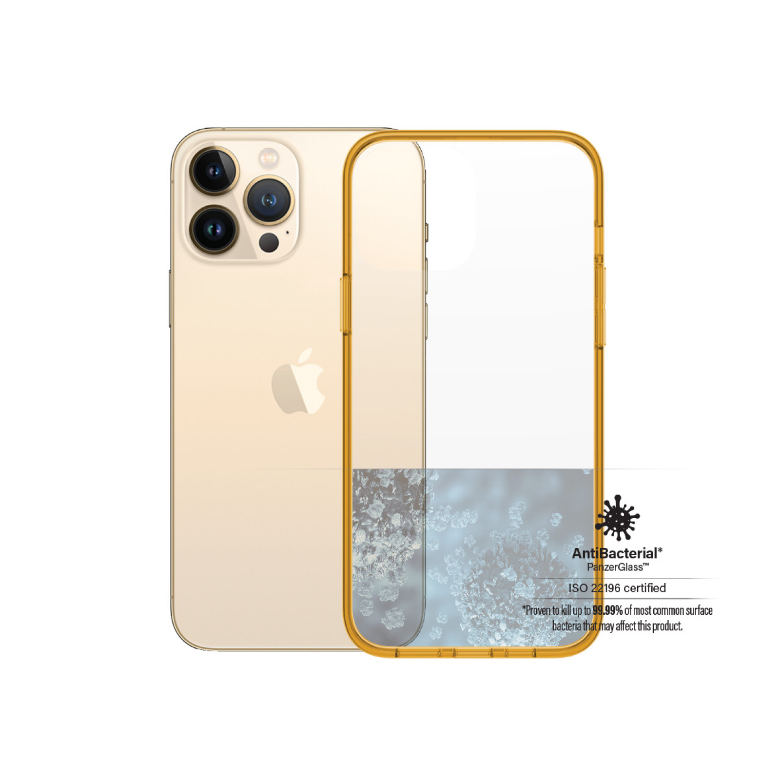Гръб PanzerGlass за IPhone 13 Pro Max , ClearCase - Оранжева рамка
