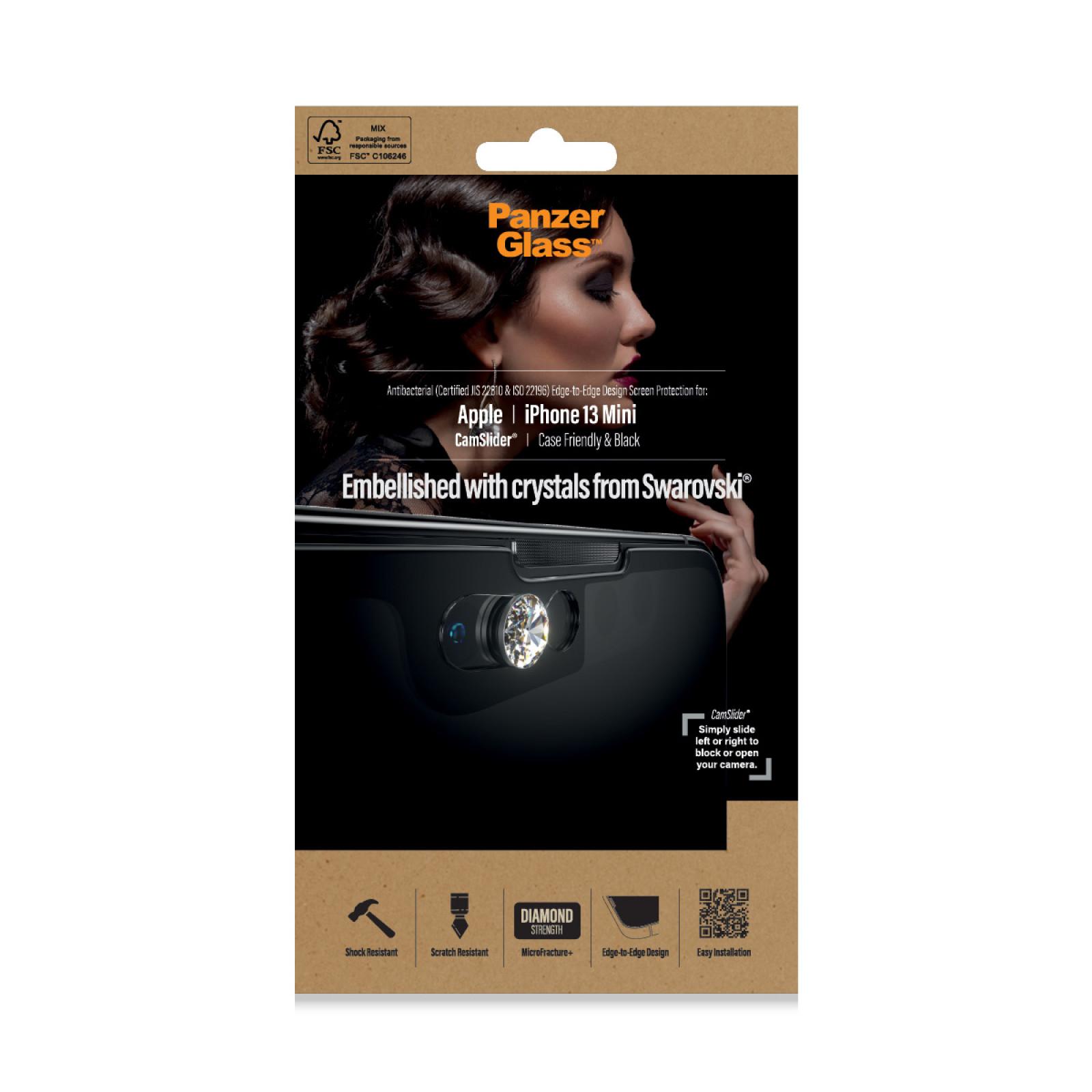 Стъклен протектор PanzerGlass за Apple Iphone 13 mini , CaseFriendly, CamSlaider,AB, Swarovski Edition