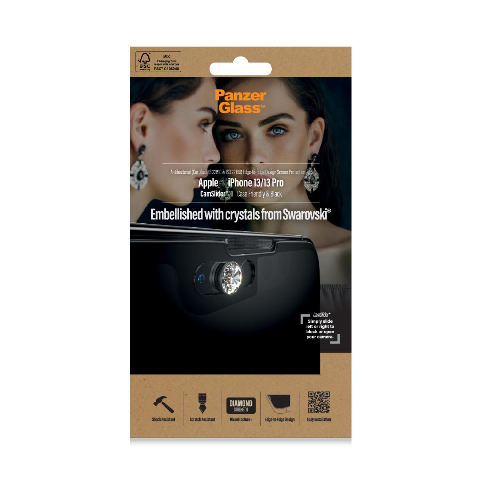 Стъклен протектор PanzerGlass за Apple Iphone 13 / 13 pro 6.1, CaseFriendly, CamSlaider,AB, Swarovski Edition
