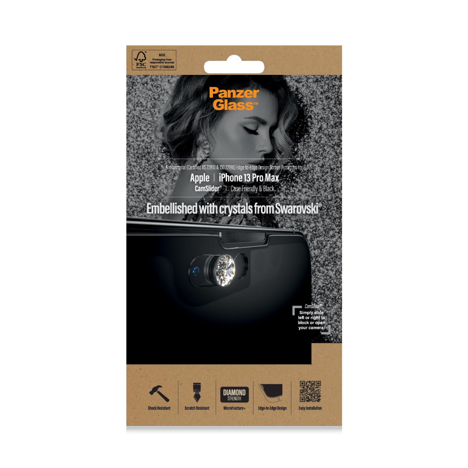 Стъклен протектор PanzerGlass за Apple Iphone 13 Pro Max , CaseFriendly, CamSlaider,AB, Swarovski Edition