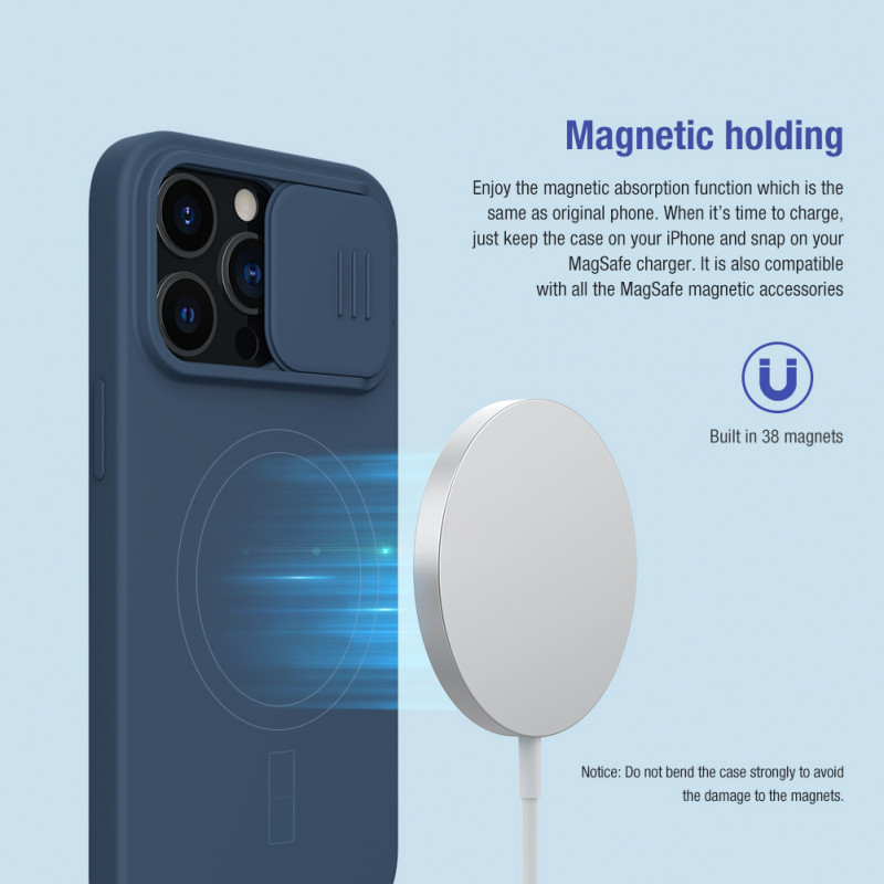 Гръб Nillkin Camshield Silky magnetic silicone case за iphone 13 Pro - Син