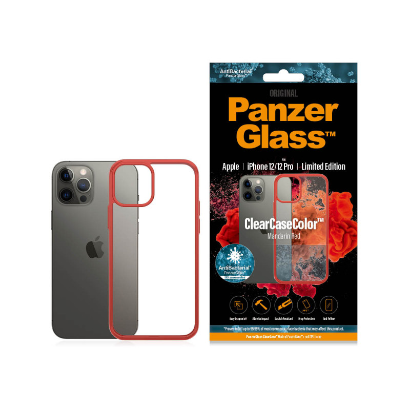 Гръб PanzerGlass за IPhone 12 / 12 Pro, ClearCase - Червена рамка