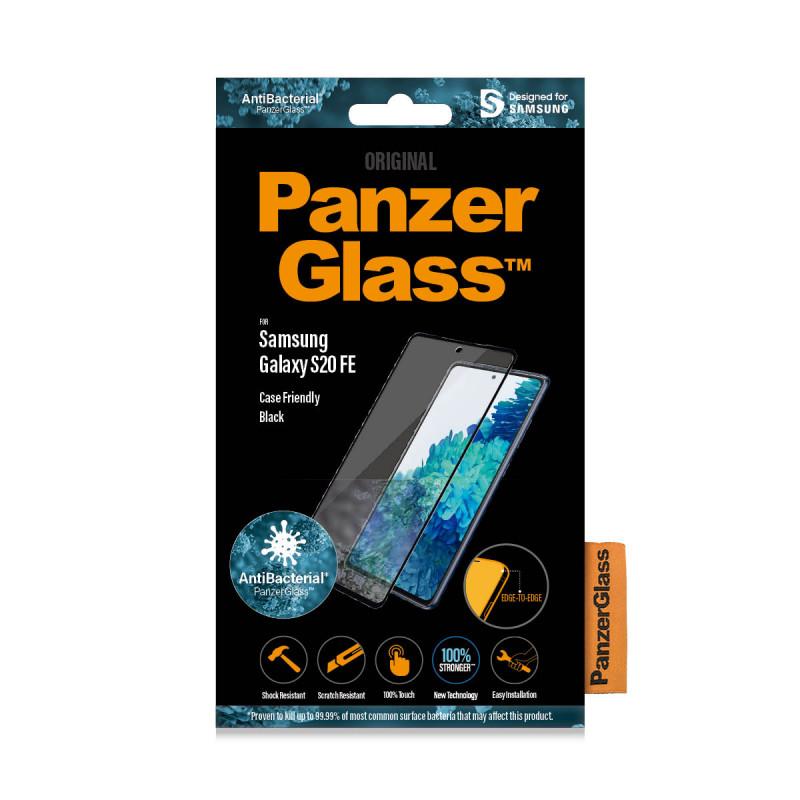 Стъклен протектор PanzerGlass за Samsung Galaxy S20 FE Case Friendly AntiBacterial Черен