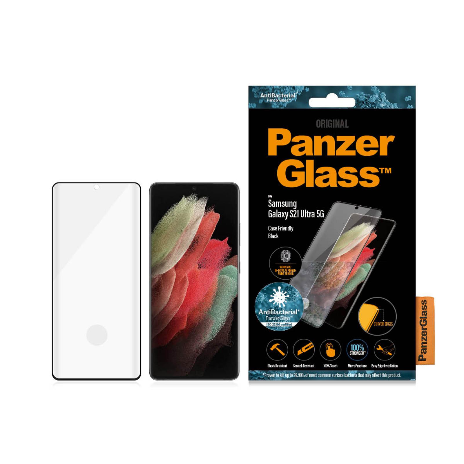 Стъклен протектор PanzerGlass за Samsung Galaxy S21 Ultra Case Friendly FingerPrint AntiBacterial Черен