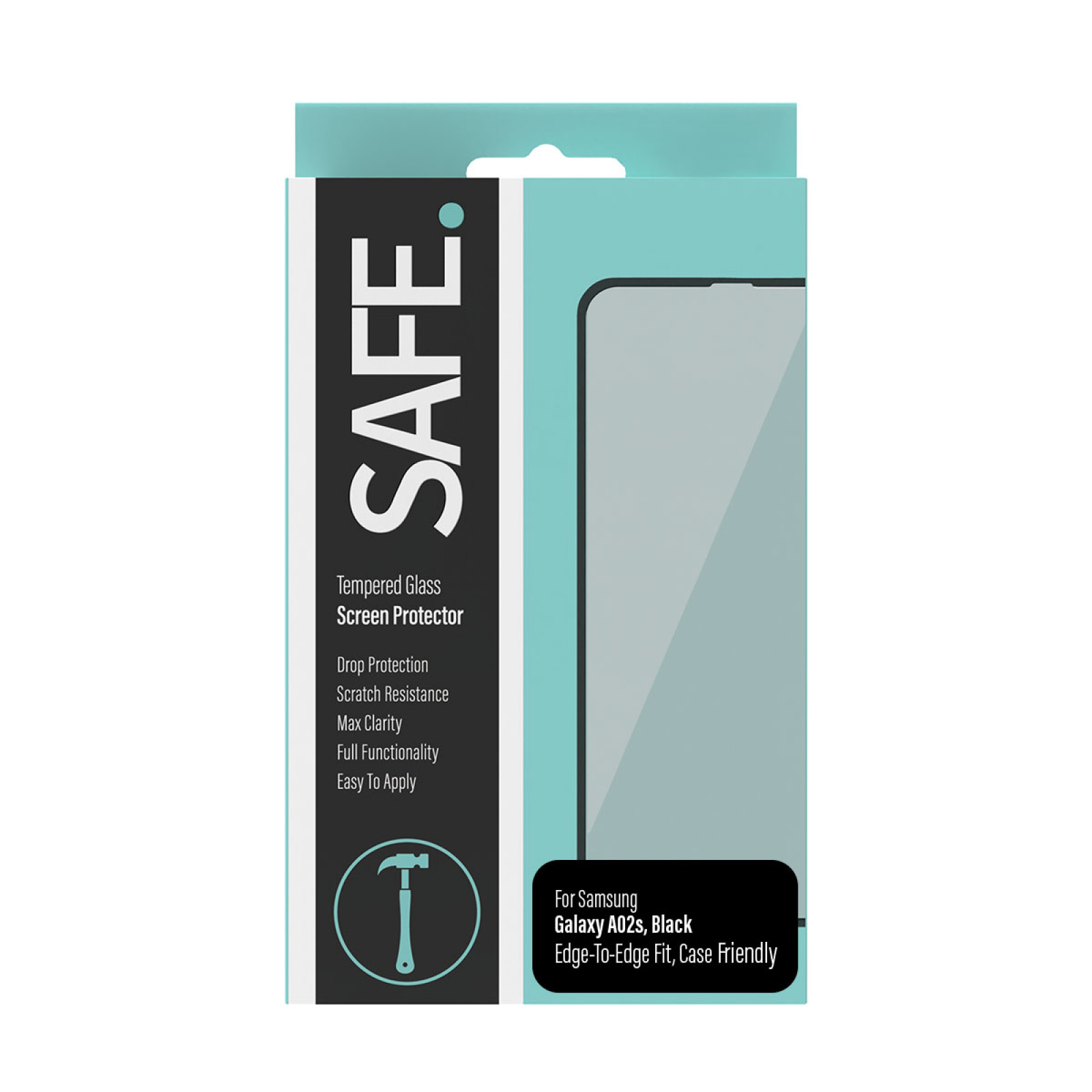 Стъклен протектор Safe Samsung Galaxy A02s Case Friendly - Черен