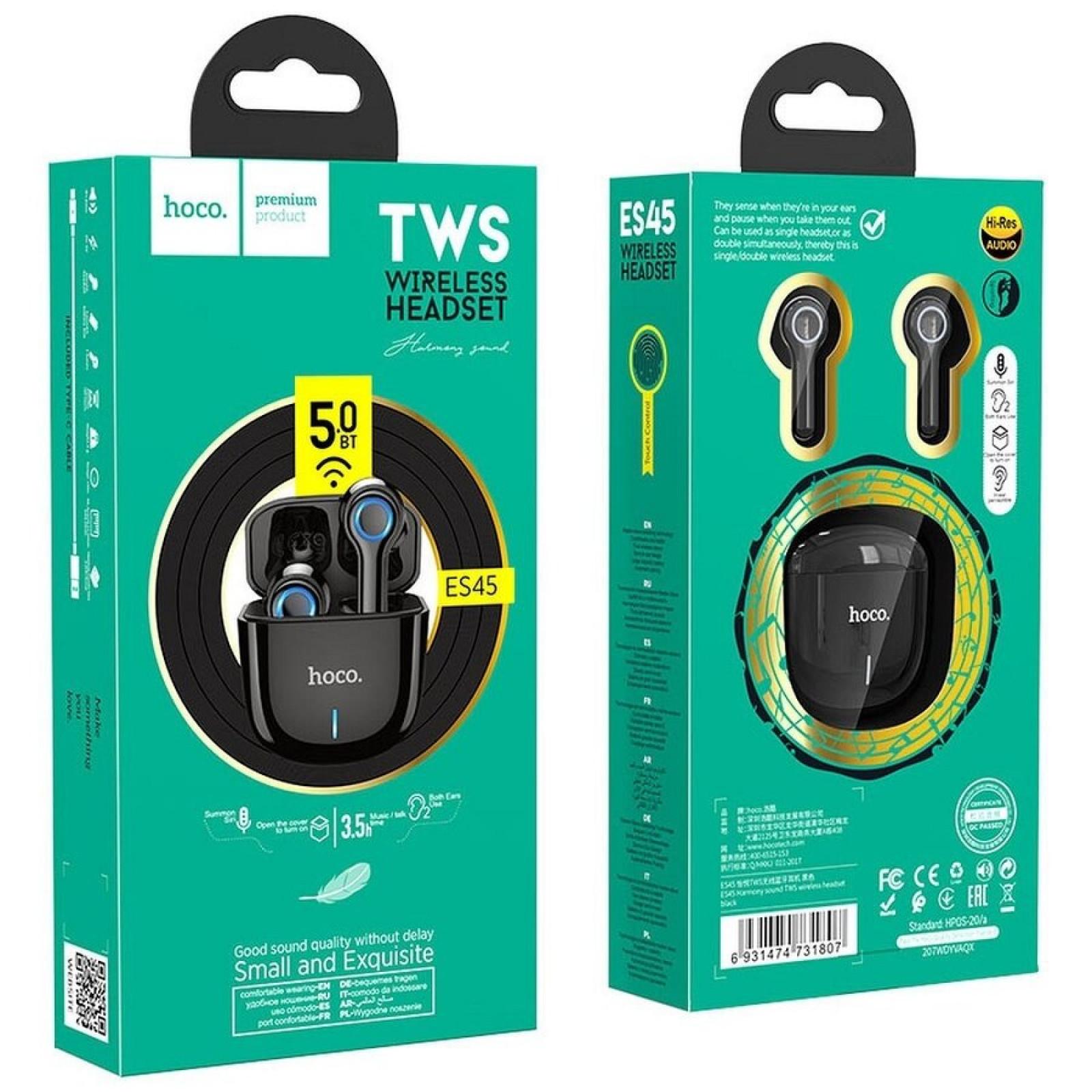 Bluetooth слушалки ES45 Harmony sound TWS wireless headset - Черни