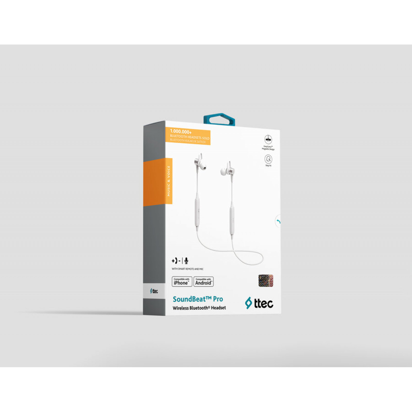 Bluetooth слушалки Soundbeat Pro Wireless BT Stereo Headset  magnets - Сребристи,116260