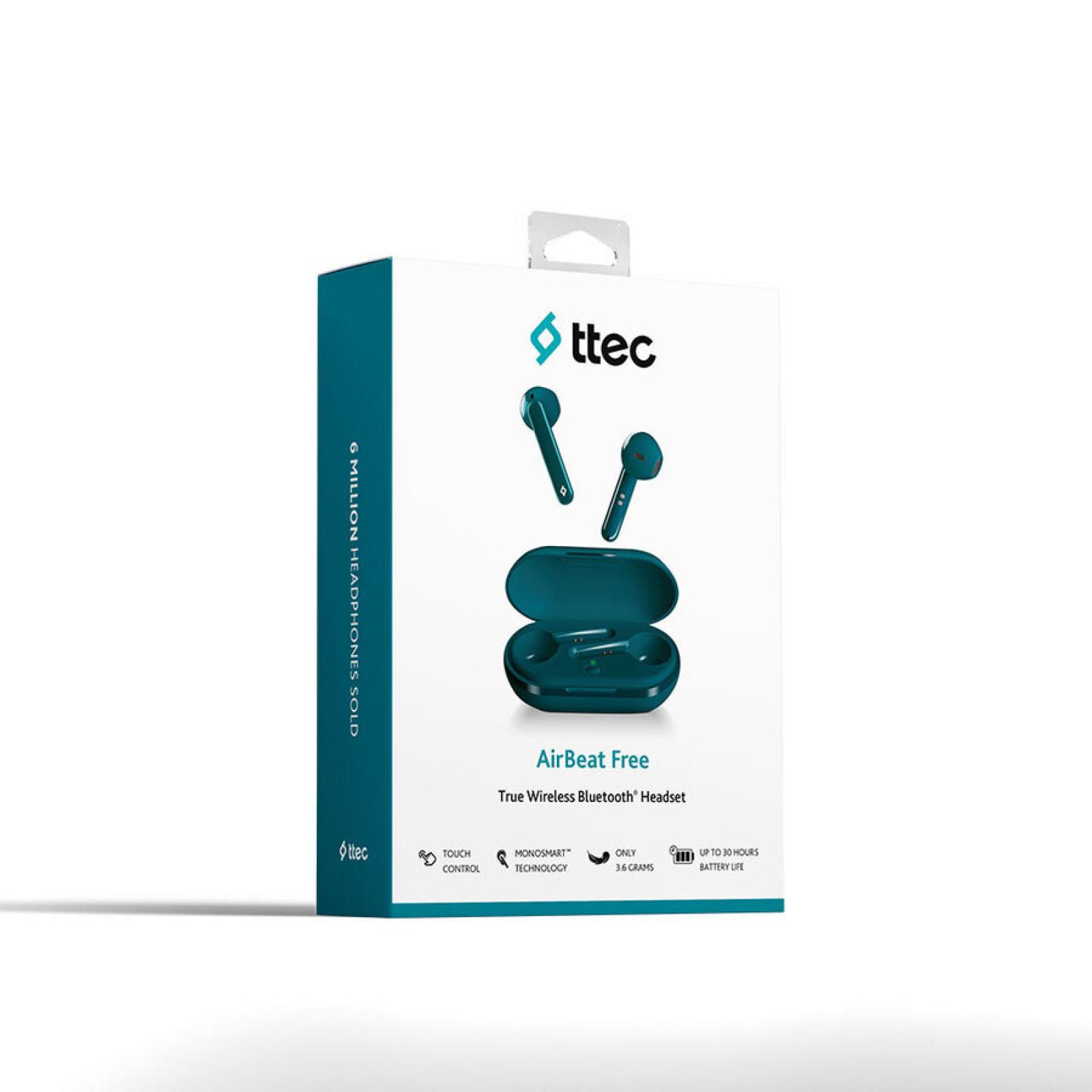 Bluetooth слушалки ttec AirBeat Free TWS Bluetooth Headsets - Тюркоаз