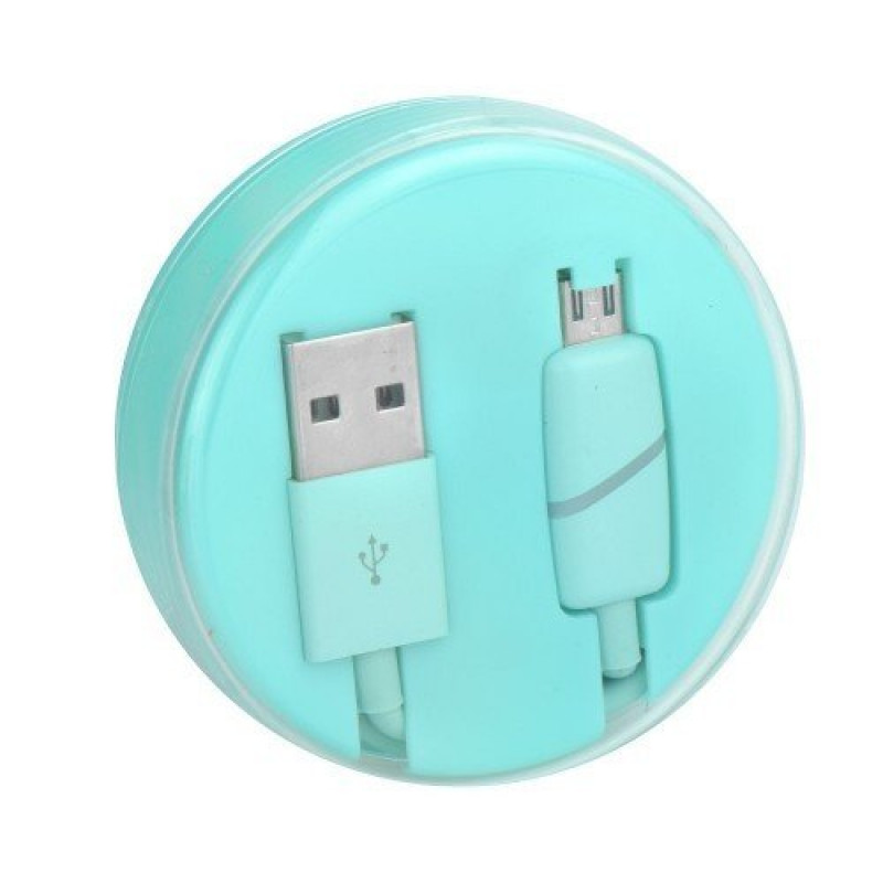 Data Кабел Micro USB BOX Ring Бледо зелен...