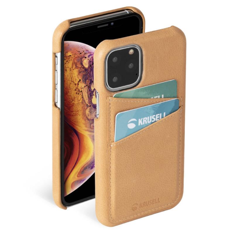Гръб Krusell Sunne CardCover естествена кожа за Iphone 11 Pro Max Vintage Nude