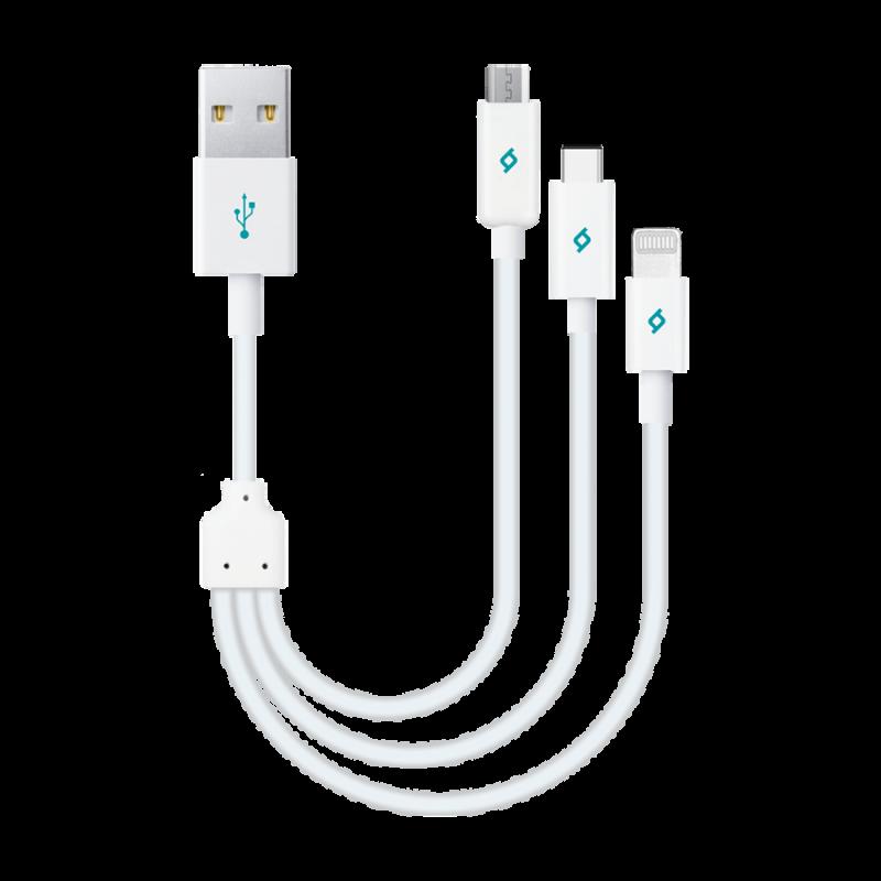Кабел Mini Cable Trio 30cm Charge/Sync Type-C, Lig...