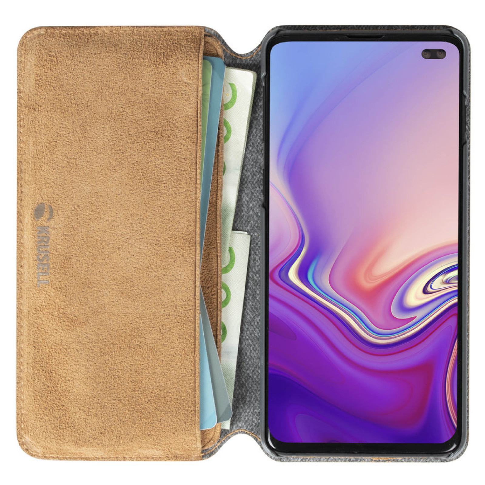 Калъф Krusell Broby 4 Card SlimWallet естествен велур за Samsung Galaxy S10 plus Cognac
