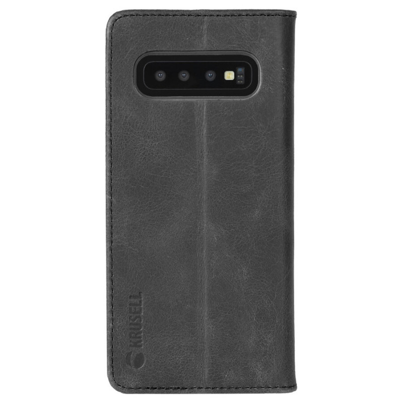 Калъф Krusell Sunne 2 Card Foliowallet естествена кожа за Samsung Galaxy S10 Vintage - Черен