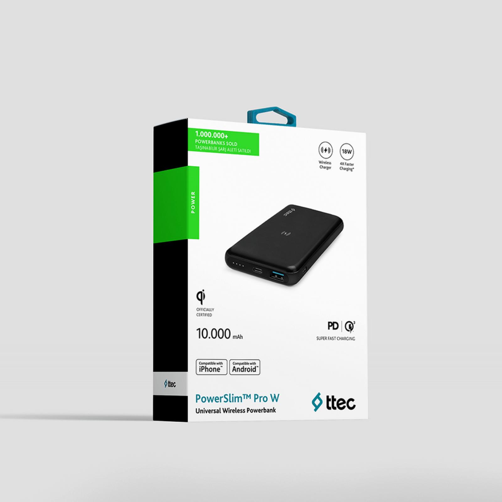 Външна батерия PowerSlim Pro W QI/PD/QC 3.0 10.000mAh Wireless Universal Mobile Charger  - Черна,116893