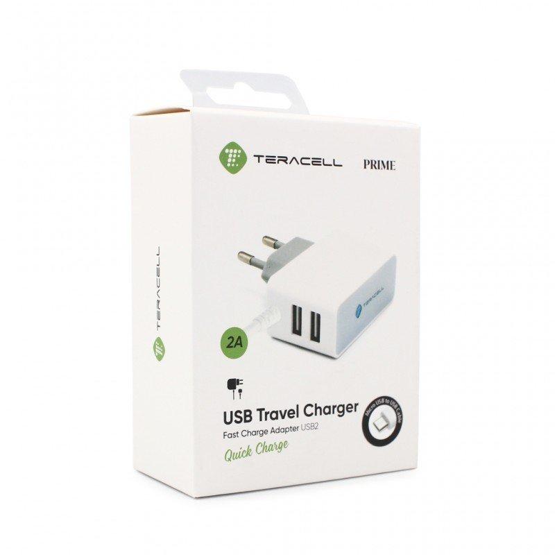 Зарядно 220V Teracell Prime USB2 2A с type C бял к...