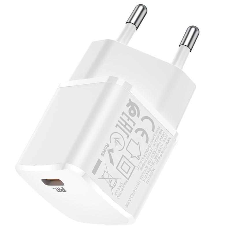 Зарядно Hoco N10 220V PD20W charger - Бяло...