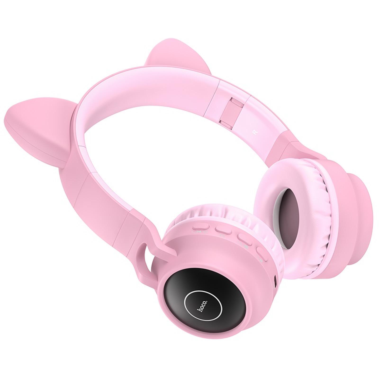 Bluetooth слушалки Hoco W27 Cat ear wireless headphones - Розови