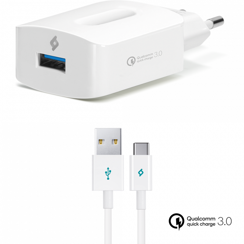 Зарядно 220V ttec SpeedCharger QC 3.0 Travel Charger, 18W, Type-C Cable - Бяло
