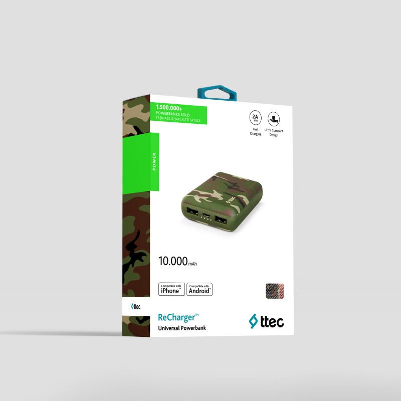 Външна батерия ReCharger 10.000mAh Universal Mobile Charger - Green Camouflage,116984