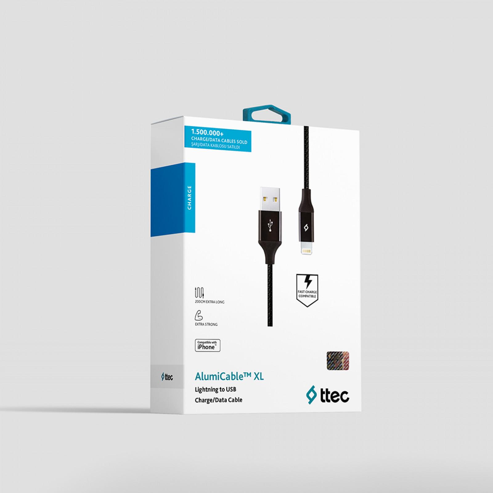 Кабел ttec AlumiCable Lightning USB Charge / Data XL Cable , 2m - Черен